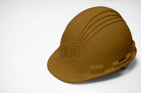 Brown helmet isolate on white background, Brown hat for welders and workers with high heat application.
