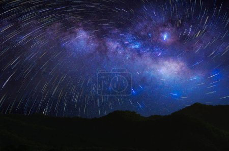 Detail from the milky way and Meteor shower at night, long speed exposure.