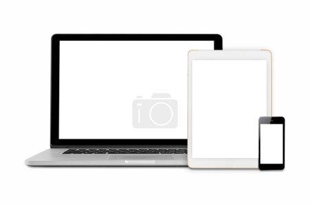 Photo pour Ordinateurs portables, tablettes et téléphones mobiles. Image de la maquette de gadgets électroniques isolé sur fond blanc. - image libre de droit