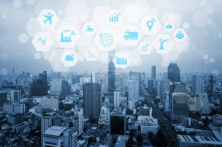 Cityscape blue tone background with Internet of things (IOT) objects icon connecting together, Internet networking concept, Connect global wireless devices with each other.