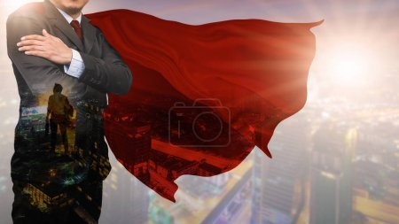Photo for Double Exposure of businessman superhero with skyline concept of success, leadership and victory in business - Royalty Free Image
