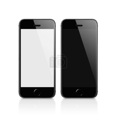 Stacked Black Mobile isolated with reflection on white background against black and white blank screen for mockup. Displaying for applications on the screen. Mobile technology connects.