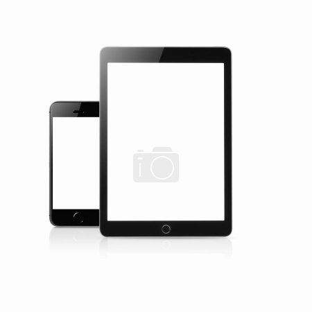 Photo for Tablet andsmartphone mockup with blank screen isolated on white background, Concept mockup. Copyspace for text. - Royalty Free Image