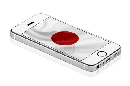 White Mobile Phone or Smartphone with flag of Japan on screen, Mobile phone isolated on white background. realistic illustration.