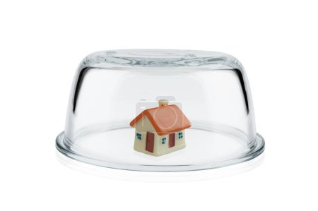 Protection concept, Toy home protected under glass dome, Property insurance.