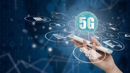 Photo for 5G network wireless systems and internet of things, Smart city and communication network with smartphone in hand and objects icon connecting together,  Connect global wireless devices. - Royalty Free Image