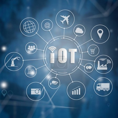 Photo for Internet of things (IOT) word and objects icon connecting together with abstract technology background, Internet networking concept, Connect global wireless devices with each other. - Royalty Free Image