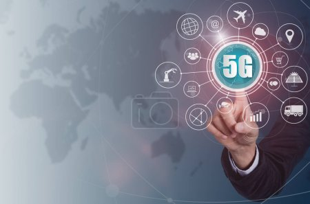 Business hand touching 5G network wireless systems and internet of things, Smart city and communication network on virtual screen connecting together, Connect global wireless devices.