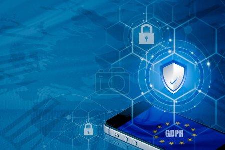 Photo pour Cadenas sur smartphone et drapeau de l'UE à l'intérieur de la téléphonie mobile et carte de l'UE, symbolisant le règlement sur la Protection des données générales UE ou PIBR. conçu pour harmoniser les lois sur la confidentialité des données à travers l'Europe - image libre de droit