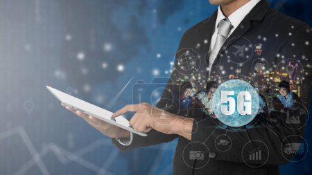 5G network wireless systems and internet of things, Smart city and communication network with digital tablet in hand and objects icon connecting together,  Connect global wireless devices.