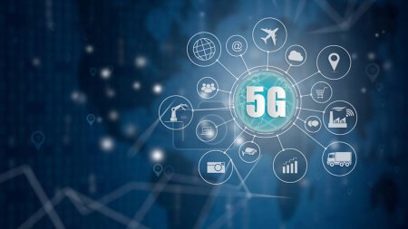Photo for 5G network wireless systems and internet of things, Smart city and communication network and objects icon connecting together,  Connect global wireless devices. - Royalty Free Image