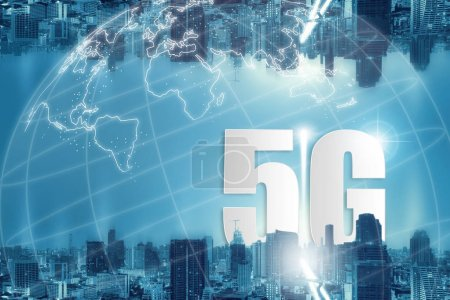 Photo for 5G network wireless systems and internet of things, Smart city and communication network and connecting together, Connect global wireless devices. - Royalty Free Image