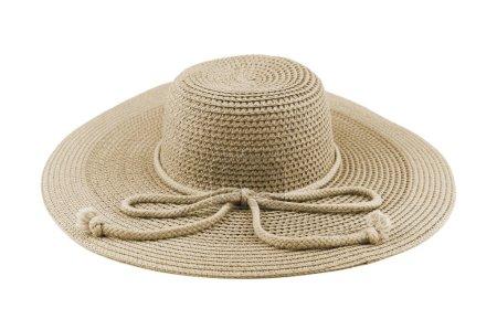 Photo pour Chapeau blanc femme élégante ou grand chapeau de paille d'été blanc isolé sur fond blanc avec chemin de coupe . - image libre de droit