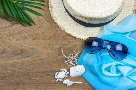 Photo for Flat lay traveler accessories on wooden background with blank space for text. Top view travel concept. Summer background. - Royalty Free Image