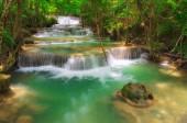 Landscape Huay Mae Kamin waterfall, Srinakarin Dam in Kanchanaburi, Thailand.