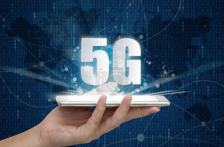 Photo for 5G network wireless systems and internet of things, Smart city and communication network on smartphone in hand and objects icon connecting together,  Connect global wireless devices. - Royalty Free Image