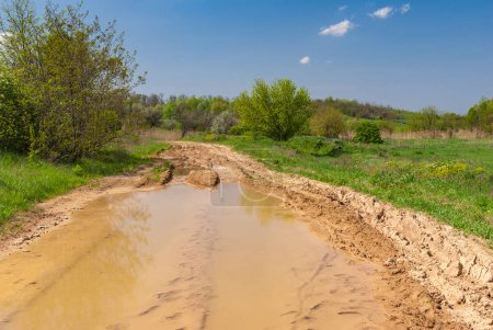 Spring landscape with big puddle on an earth road