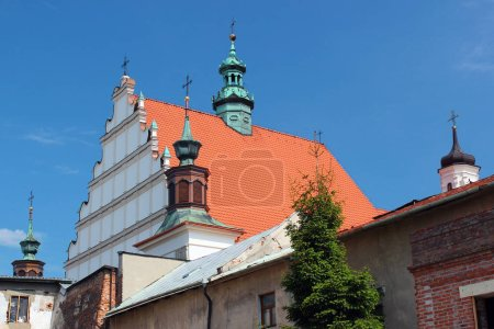 Lublin, Poland - April 30, 2018: Basilica of St. Stanislaus and Dominican monastery in Lublin. Construction of church relates to the endowment of Casimir the Great in 1342.