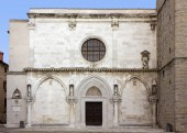 Facade of the cathedral of the Assunta and of Saint Nazario in Koper, Slovenia