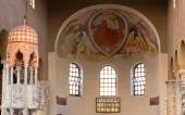 View of the interior of the Basilica of Sant'Eufemia in Grado, Italy