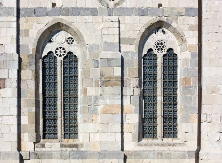 Detail of the exterior of the duomo in Venzone, Italy