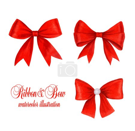 Photo pour Collection of red bows watercolor illustration isolated on a white background suitable for holiday designs - image libre de droit