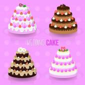 Wedding cake illustration vector set