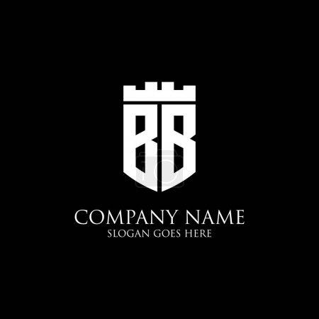 Illustration pour BB logo de bouclier initial Inspiration, couronne royale vecteur de logo - facile à utiliser pour votre logo - image libre de droit