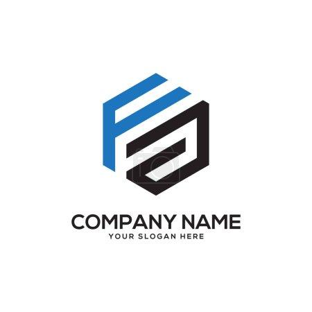 Illustration pour FA inspirations initiales de conception de logo, vecteur de logo hexagonal, dessins de logo lettre - image libre de droit