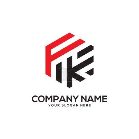 Illustration pour FK inspirations initiales de conception de logo, vecteur de logo hexagonal, dessins de logo de lettre - image libre de droit