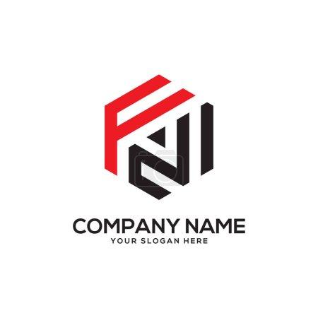 Illustration pour Premières inspirations de conception de logo FN, vecteur de logo hexagonal, dessins de logo de lettre - image libre de droit