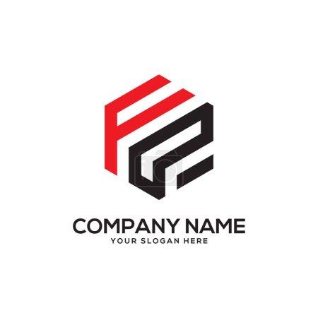 Illustration pour FP inspirations initiales de conception de logo, vecteur de logo hexagonal, dessins de logo lettre - image libre de droit