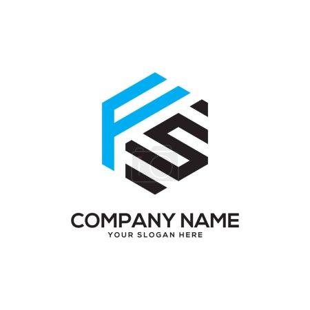 Illustration pour Inspirations initiales de conception de logo FS, vecteur de logo hexagonal, dessins de logo de lettre - image libre de droit
