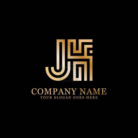 Illustration pour Logo monogramme JK inspirations, modèle de logo lettres, conceptions propres et créatives - image libre de droit