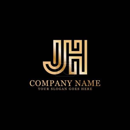 Illustration pour Logo monogramme JH inspirations, modèle de logo lettres, conceptions propres et créatives - image libre de droit