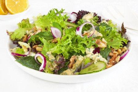 Photo pour Salade aux noix et au fromage bleu, concombre et oignon, et laitue . - image libre de droit