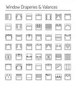 Window draperies valances curtains blinds Interior design elements Black line icon set
