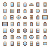 Wooden windows Architecture elements Flat colored icons Traditional french arch and round window frames Isolated on white background Isolated objects on white backround