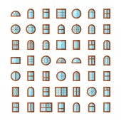 Wooden windows Architecture elements Flat colored icons Traditional french arch and round window frames Isolated on white background Isolated on white backround