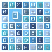 Windows Architecture elements Flat colored icons with long shadows Traditional french arch and round window frames