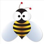 Cute bee with big googly eyes cartoon vector illustration