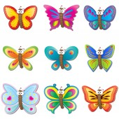 Cute Butterflies with big googly eyes cartoon Icon set vector illustration