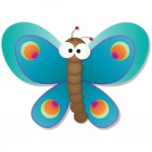Cute Butterfly with big googly eyes cartoon vector illustration