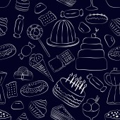hand drawn sweets seamless pattern on dark background