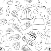 outlinrd sweets seamless pattern with hand drawn elements