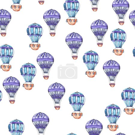 Seamless pattern with blue and violet stripped hot air balloon on white background. Hand drawn watercolor illustration.