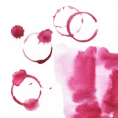 Purple watercolor stains on white background. Wine drops set. Hand drawn illustration.