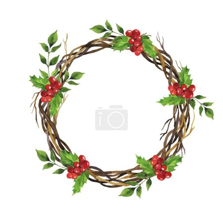 Photo for Christmas wreath witn red berry and green leaves isolated on white background. Hand drawn watercolor illustration. - Royalty Free Image