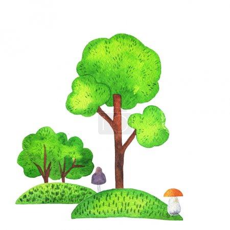 Photo pour Ensemble de mignon arbre scandinave et buisson isolé sur fond blanc. Illustration aquarelle dessinée à la main . - image libre de droit