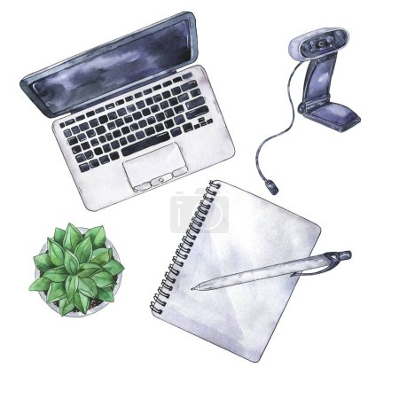 Vue du dessus du lieu de travail : ordinateur portable, ordinateur portable, stylo, appareil photo, cactus. Aquarelle et illustration à l'encre dessinées à la main .